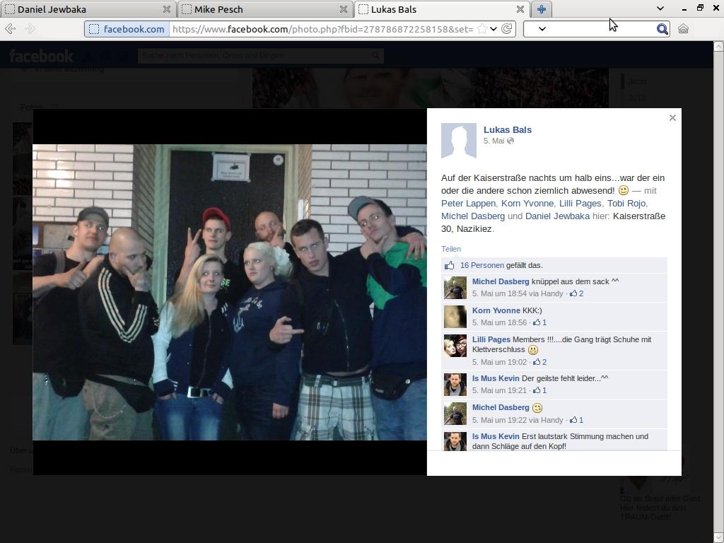 Posting von Lukas Bals auf Facebook am 05. Mai 2013