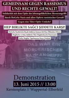 13.06.2015 | Gemeinsam gegen Rassismus und rechte Gewalt! Hep Birlikte Sağcı Şiddete Karşı! | 13:00 | Kerstenplatz | Wuppertal