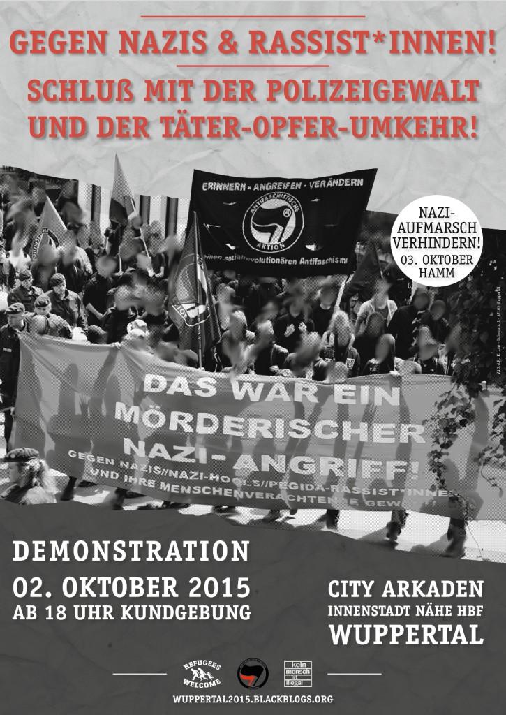 02.10.2015 | Gegen HoGeSa, Nazis und Rassist*innen! Kein Bock mehr auf Polizeigewalt! | 18.00 Uhr | City Arkaden | Wuppertal