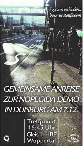 Gegen HoGeSa, Nazis und Rassist*innen! #NOPEGIDA – Gemeinsam nach Duisburg - Pogrome verhindern, bevor sie stattfinden!
