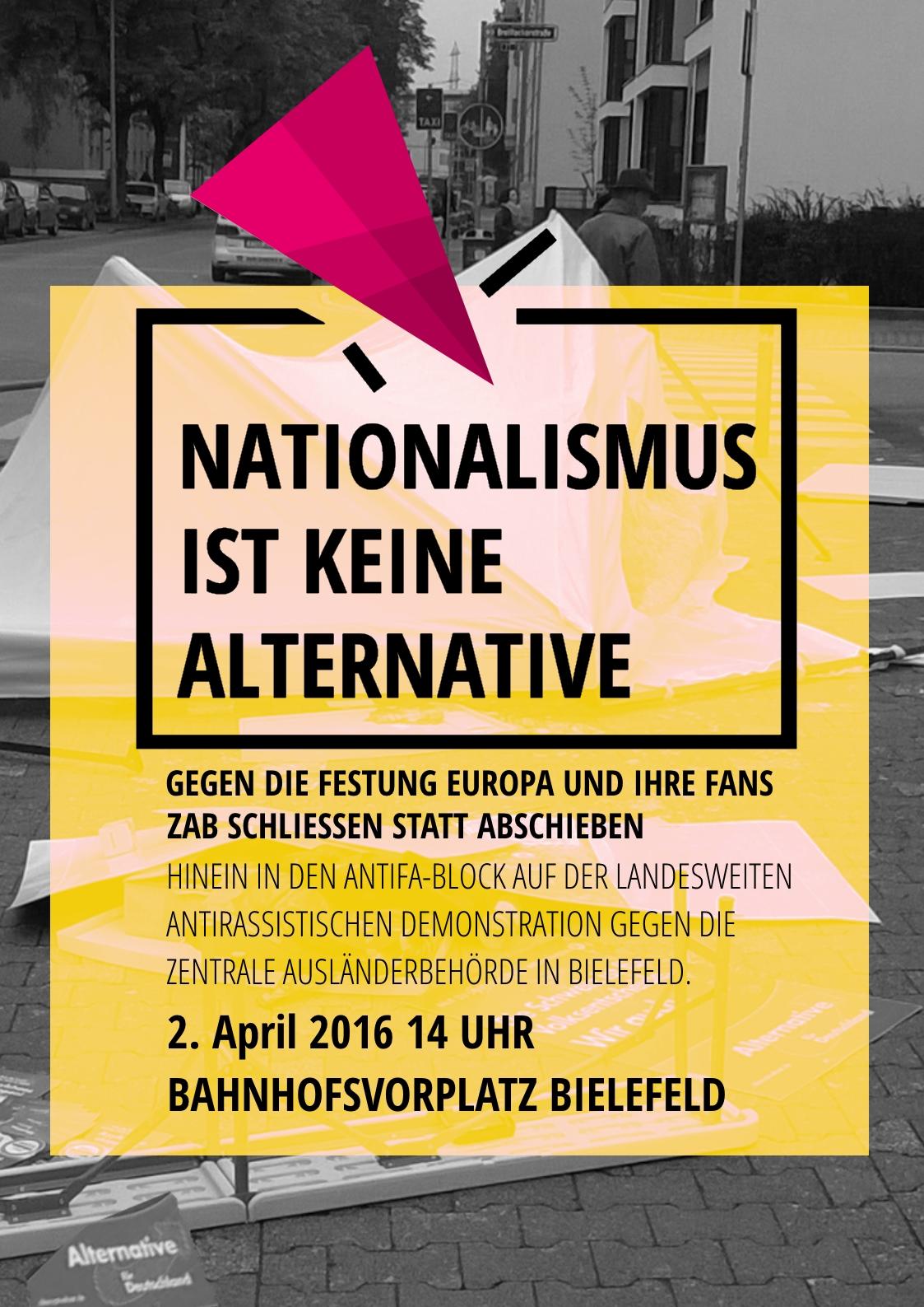 """""""ZAB schließen statt abschieben! - Bewegungsfreiheit statt Abschiebelager! Jeder Fluchtgrund ist legitim!"""" - Gemeinsam nach Bielefeld!"""