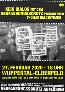 Prostest gegen den Aufritt vom Verfassungsschutz-Präsidenten Thomas Haldenwang am 27.02. in Wuppertal